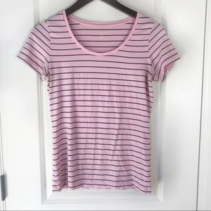 Land's End Striped Scoop Neck Tee Shirt